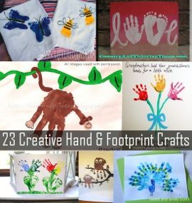 23 Creative handprint and footprint crafts for kids including hand print and foot print gift ideas and memory making. So cute.