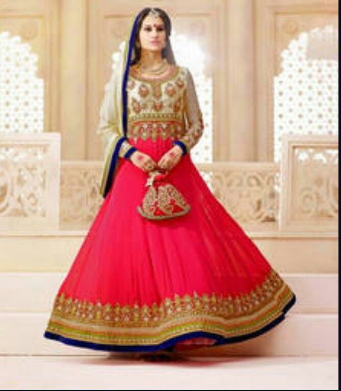 Beautiful hot pink and white frock suit with gold embroidery
