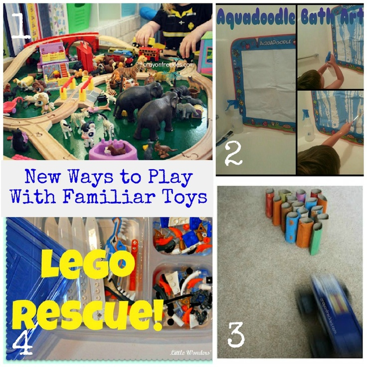 4 ideas to play with familiar toys in new ways: Kids Co Op, Kids Plays, Kids Stuff, Kids Crafts Gam, Kids Coops, Kids Activities, Familiar Toys, Kids Baby, Kids Fun