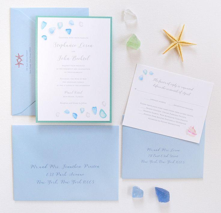 starfish wedding invitation kits%0A Watercolor sea glass beach wedding invitations by artist Michelle Mospens     Mospens Studio