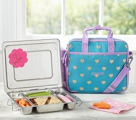 Mackenzie Teal Glitter Heart All In One Lunch Bag Pottery