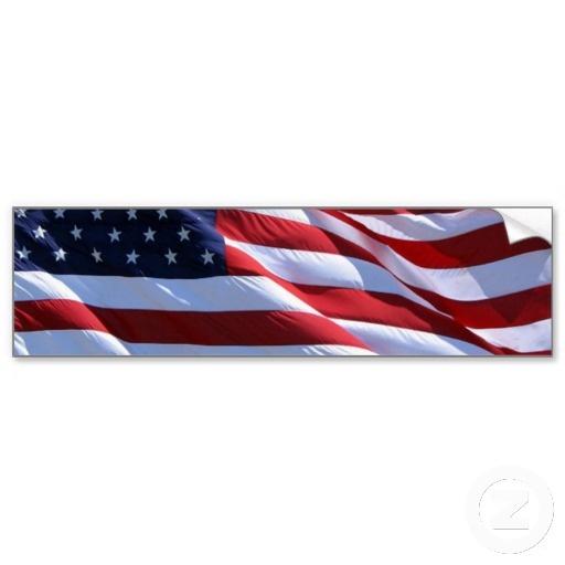 american flag on car