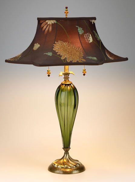 tall green blown glass chocolate colored dupioni embroidered with gold floral and green vine design