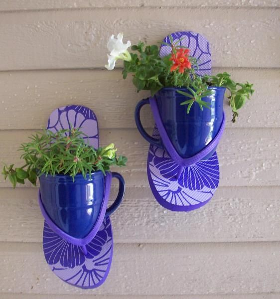 cups, flowers and flip-flops