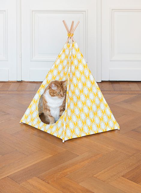 Pet Teepee - idea for small pet - fabric, 5 rods/sticks, thread/ties - and can keep changing to suit decor!