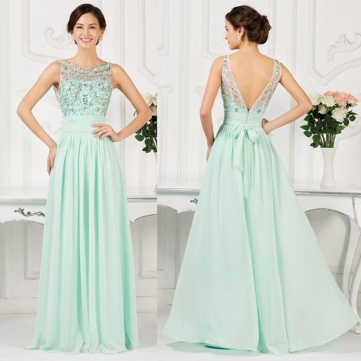Mint embellished evening dress