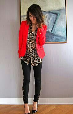 Leopard blouse, red blazer