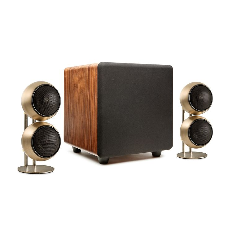 """Classic Two Stereo Speaker System // Bronze """"Orb Audio is changing the way speakers are made. Get big, loud output without wiring your room for surround sound. The Classic Two Stereo Speaker System has the ultimate in audiophile quality, and doesn't sacrifice looks, with its labor-intensive hand-antiqued bronze finish. The combination of its high-output Mod2X satellites and powerful subONE subwoofer will really bring your music and movies to life.  The Classic Two Stereo Speaker System has…"""