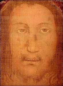 "Manoppello Image - ""Veil of Veronica"" found in the church in Manoppello. This image according to legend, appeared on the cloth that Veronica offered Christ as a towel to wipe his face as he carried his cross to Golgotha."