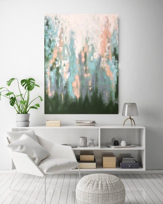 Green Abstract painting, teal modern Painting ,Above Couch Art, Extra Large Painting ,horizontal wall art