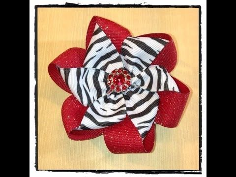 Nicole's Beautiful Folded Ribbon Flower using two different colors - YouTube