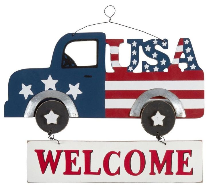 Patriotic Red White Blue Pickup Truck Welcome Sign Wall Hanger Decor 4th Of July Unbranded