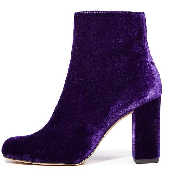 IRO Bootev Booties (31,155 PHP) ❤ liked on Polyvore featuring shoes, boots, ankle booties, dark purple, side zipper boots, side zip booties, side zip boots, velvet booties and leather sole boots