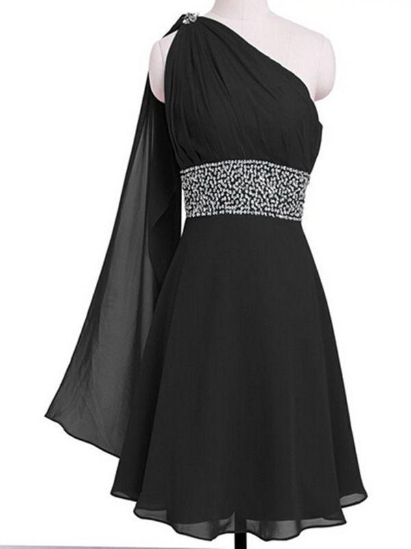 A-Linie Damen One Shoulder Chiffon Abendkleider Festkleider kurz