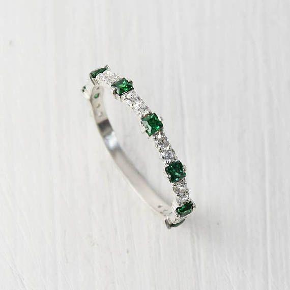 Minimalist Emerald Wedding Band Womens Wedding Band Silver Etsy Emerald Wedding Band Silver Wedding Bands Emerald Band Ring