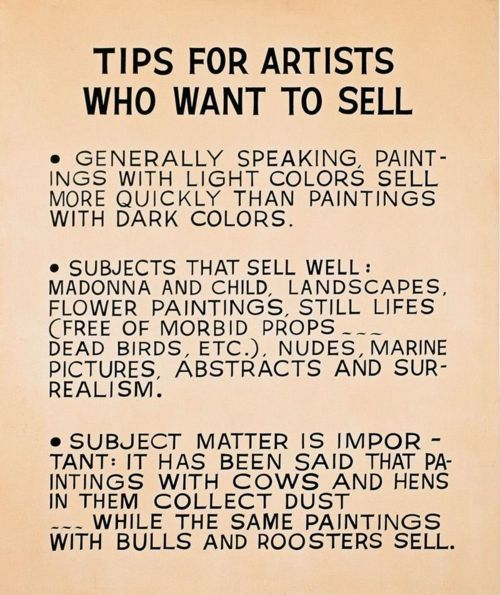 Light colors-CHECK! Abstract-CHECK! Bulls & roosters?!-something to work on, I guess. ;) ~ m (John Baldessari, Tips for Artists Who Want to Sell, 1966-68)