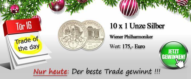 10 x 1 Unze Silber Wiener Philharmoniker Trade of the day – Der beste Tages-Trade gewinnt! Nur heute, 16.12.2013: Mit dem Silber-Philharmoniker der Münze Österreich AG erschien im Jahre 2008 Wert: 175,- Euro