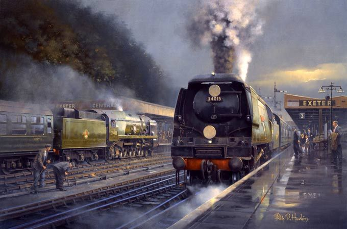 steam art painting - Fine Art Prints of Railway Scenes & Train Portraits - Southern Pacifics by Philip D Hawkins - Exeter Central Station in 1960 www.railart.co.uk Wigan Springs Branch by John Harrison