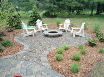 Nice integration of fire pit with patio through the use of color, materials and shapes. Plantings around fire pit will mature and heighten the effect of separate rooms.