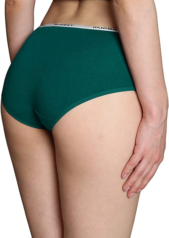 INNERSY Women/'s Mid Rise Tagless Plain Color Full Coverage Cotton Hipster Panties 6-Pack