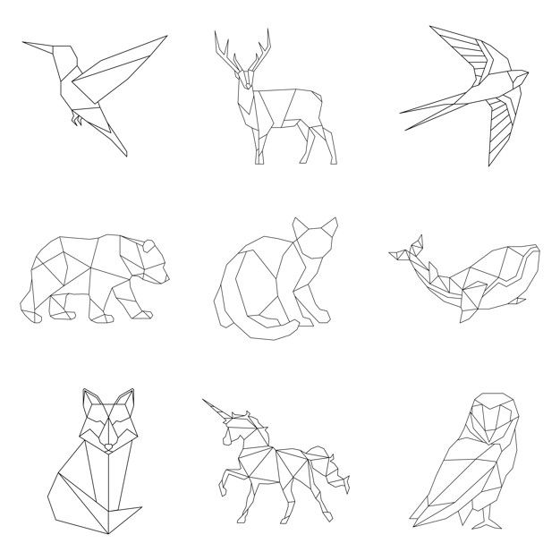 Set of linear illustrations of animals free vector Geometric Owl, Geometric Drawing, Geometric Lines, Geometric Tattoo Bird, Owl Vector, Vector Graphics, Stylo 3d, Bild Tattoos, Abstract Animals