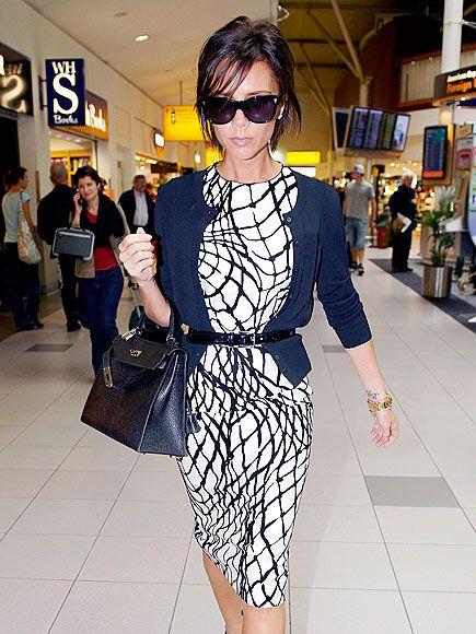 patterned boat neck sheath dress with belted cardi - Victoria Beckham