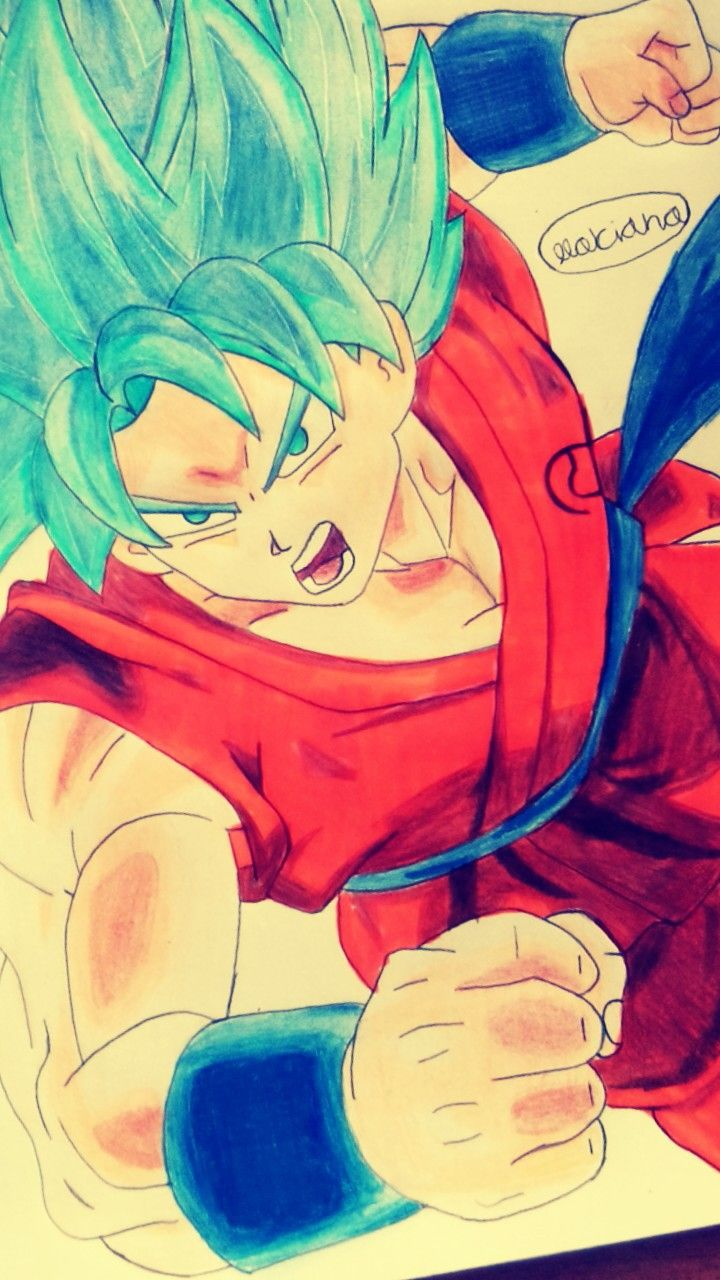 Dragón ball super Goku Super Saiyan face Dios azul