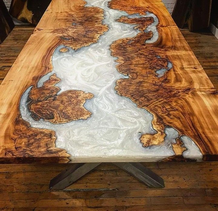 Pearl River Table In 2020 Resin Furniture Epoxy Wood Table Resin Table