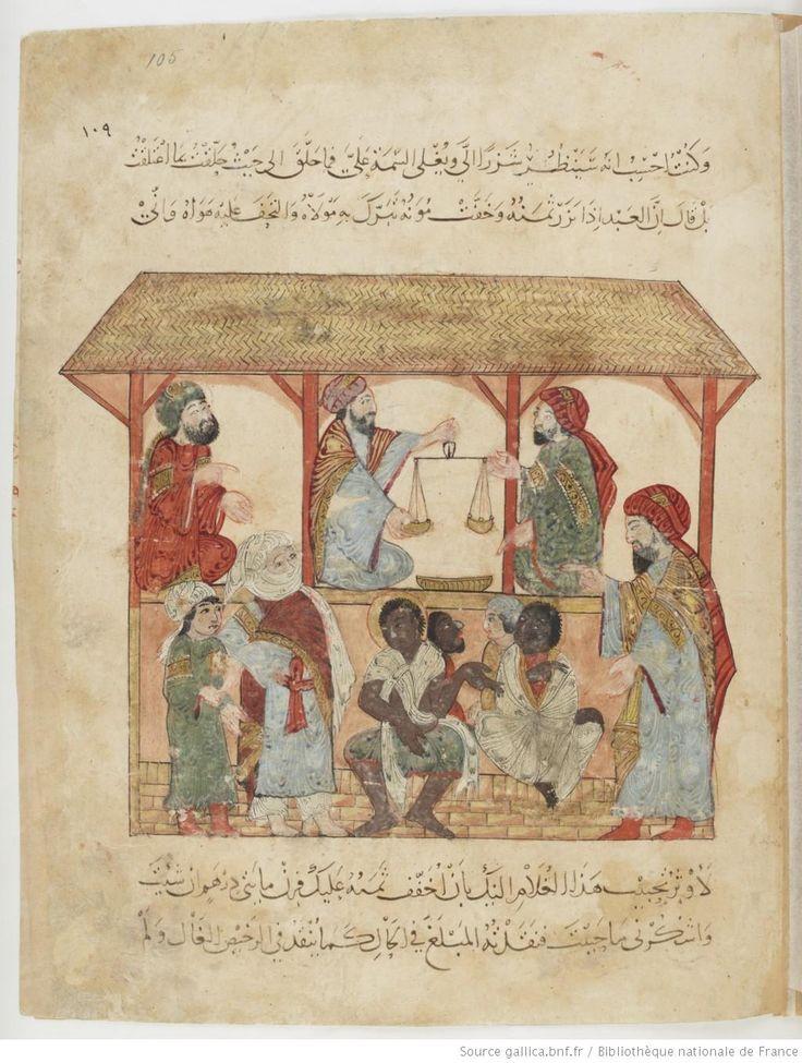 Folio 105 Recto: maqama 34. al-Harith in the slave market