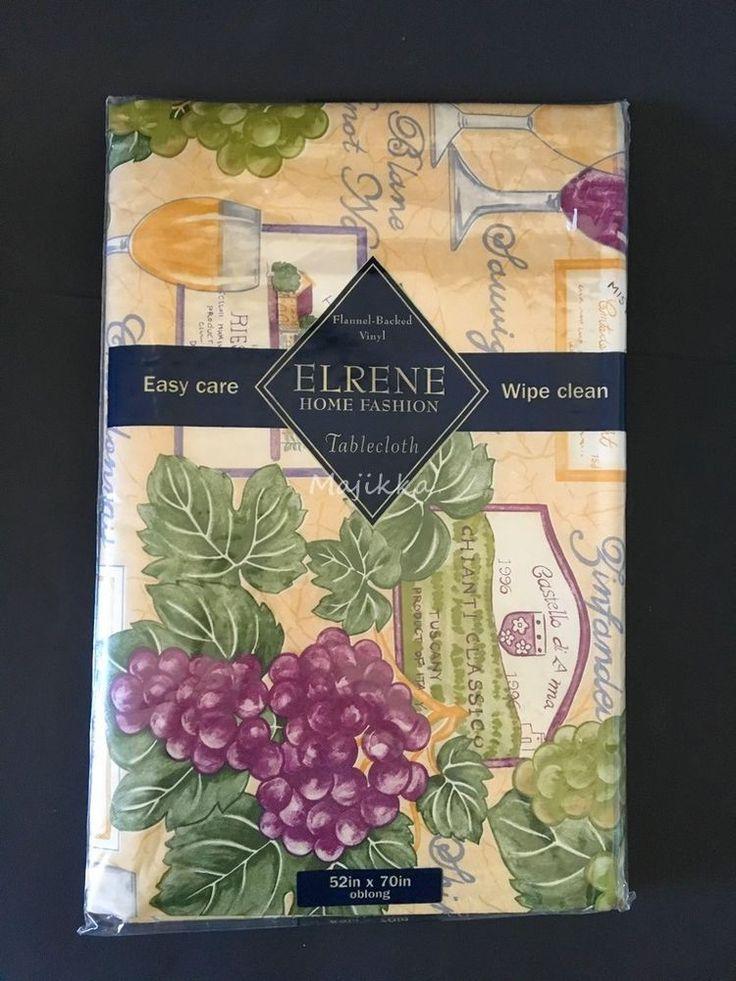 "ELRENE FLANNEL-BACKED VINYL TABLECLOTH Tuscany Villa 52""x70"" OBLONG SEATS 4-6  #Elrene"