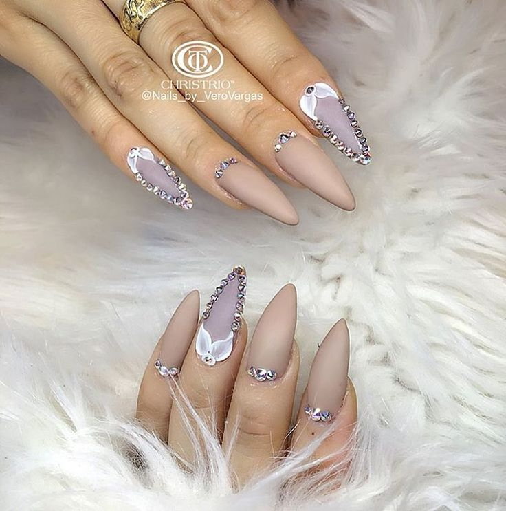 Nude and lavender stiletto nails pinterest @trulynessa89 ☆
