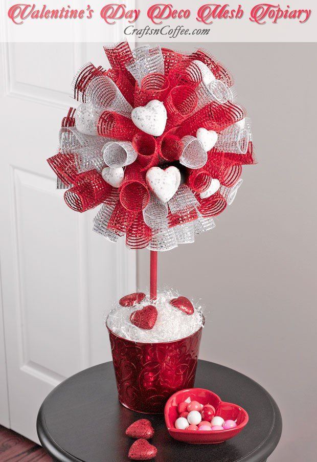 DIY a Deco Mesh Topiary for Valentine's Day. CraftsnCoffee.com.