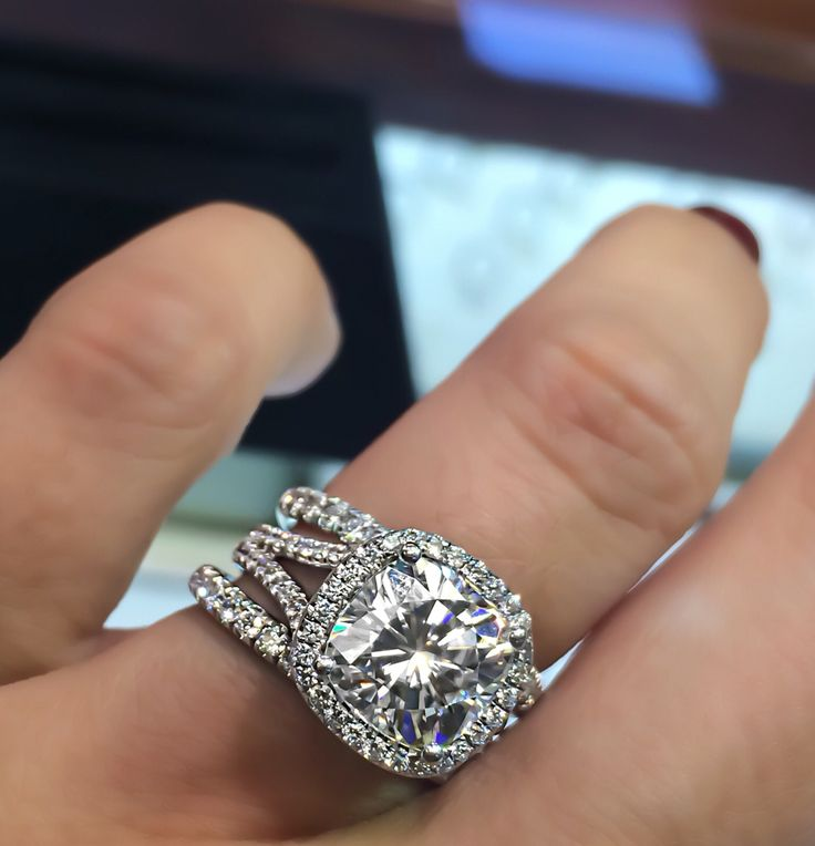 Side view of my wedding set. Stacked setting. 4 ct cushion cut split shank. 6cttw