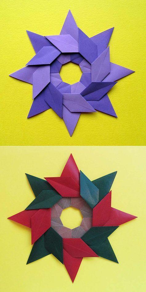 # Diagrams: Stella ghirlanda - Star garland, Modular origami, no cuts, no glue, 8 squares of Kraft paper, 12 x 12 cm. Designed by Francesco Guarnieri, December 2010.