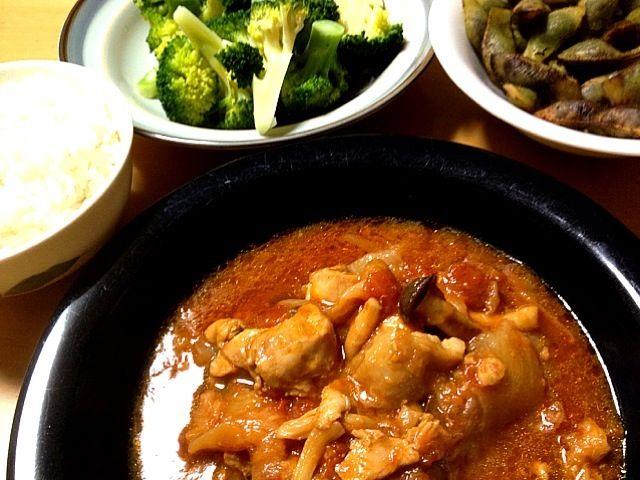 簡単圧力鍋。 - 7件のもぐもぐ - チキントマト煮込み、ブロッコリー、黒豆枝豆、切干大根ほか。 by seabreeze