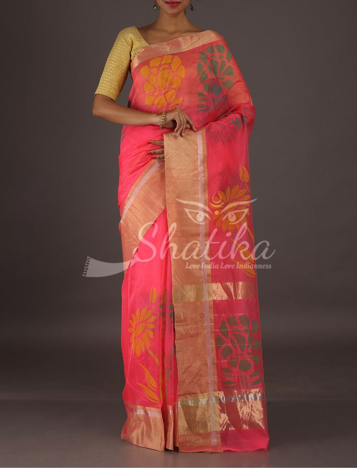 Neha Bold Colorful Flowers Florescent Pink Pure #ChanderiBlockPrintSaree