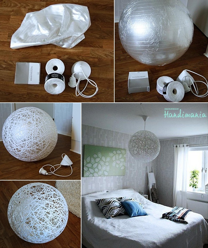 DIY - Make your own stringy lamp    You need the yoga ball, plastic wrap, string and wallpaper glue. Here's what to do: Blow up the ball, wrap it in plastic to protect to ball, drench the rope in glue, wrap it around (but be sure to leave a hole!), let it dry, deflate the yoga ball, take it out through the hole, done!