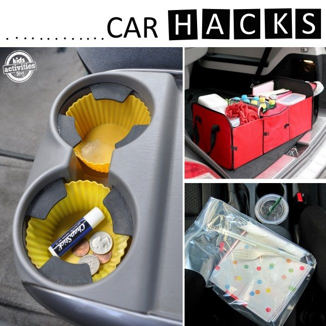 car tips and tricks for families. The bucket hanging from the ceiling is pretty unsafe though