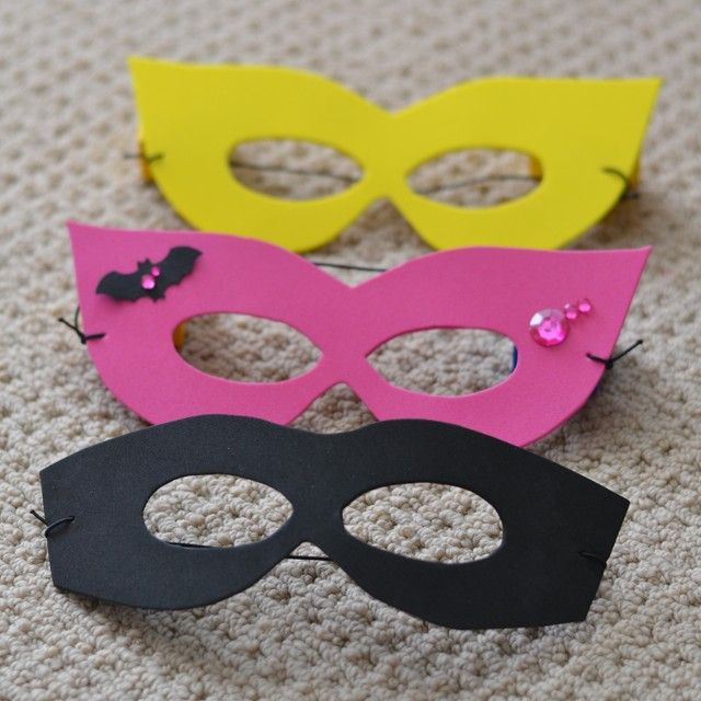 Great masks for Ainsley's Superfriends party.