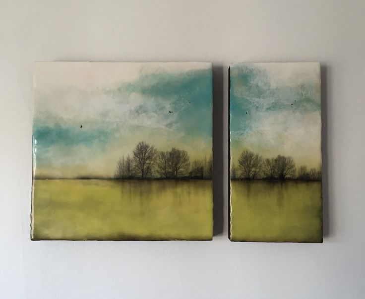 """""""Land and sky """"series  Encaustic diptych ,total dimension 12x22"""""""
