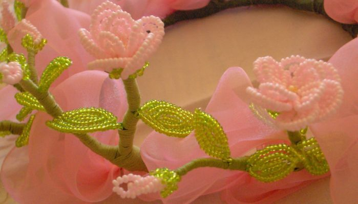 making a French beaded flower wreath,