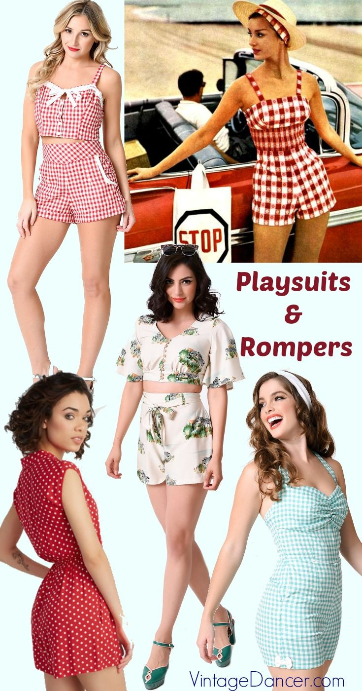 Retro vintage rompers and playsuits in the styles of the 1930s, 1940s, and 1950s at VintageDancer.com