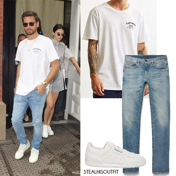 Scott Disick in white tee and jeans NYC July 28 2017 Men's streetstyle