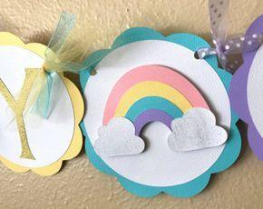 Arco iris partido Banner, Banner de cumpleaños arco iris, chica arco iris, arco iris Pastel partido, oro brillo del arco iris, fiesta de cumpleaños del arco iris, rosa