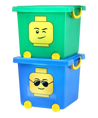 Take a look at this Blue & Green LEGO Wheeled Toy Stacking Bin Set by IRIS USA on #zulily today!