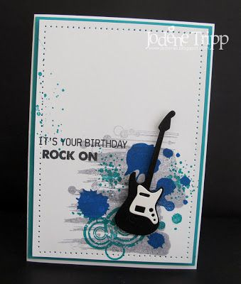 Supplies: Stamps: My Favorite Things and Papertrey Ink Guitar Die: My Favorite Things Ink: Stampin' Up Bermuda Bay and Brilliant blue.