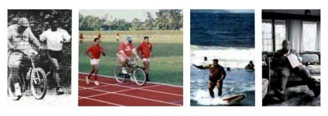 На этих довольно редких иллюстрациях с тонганских монархических сайтов – любимый король Тонга Джордж Тупоу IV и спорт.  Весьма упитанный король занимается серфингом и катается на велосипеде в сопровождении охранников; Здесь же король за чтением в период максимума набранного им веса.  Долгие годы тонганский король считался самым толстым правителем, и в 1976 году официально вошел в книгу рекордов Гиннеса как самый толстый король мира. При этом его вес достиг 209 с половиной килограмм…