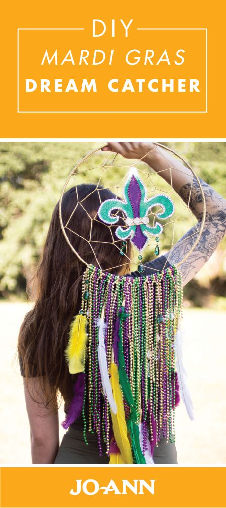 Celebrate in style with this DIY Mardi Gras Dream Catcher from Jo-Ann. With the traditional green, yellow, and purple color scheme, this craft project will vibrantly add to your party decor.