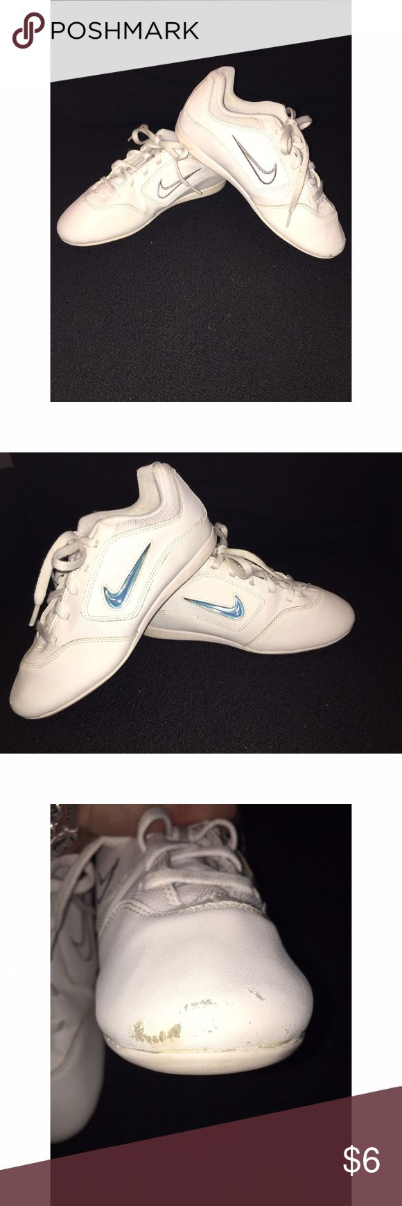Nike Youth Cheer Shoes Sz 3 Preowned decent condition - price reflects!!! Shoes are in great shape EXCEPT for the front left toe- there are scuffs- you may be able to cover or can use for practice shoes. Sz 3youth. Blue removable swish plaquard can be interchanged(I believe you can order new plaquards to coordinate with your school colors). Cleaning out my daughters closet to raise funds for her college education! Please ask any and all questions prior to purchase. Nike Shoes Sneakers