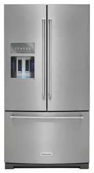 Kitchen Aid - KRFF507ESS - 26.8 cu. ft. 36-Inch Width Standard Depth French Door Refrigerator with Exterior Ice and Water